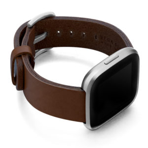 Burnt-Fitbit-brown-full-grain-leather-band-with-case-on-right