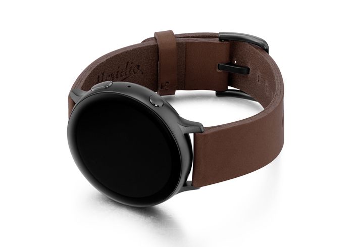 Burnt-Galaxy-brown-full-grain-leather-band-with-case-on-left