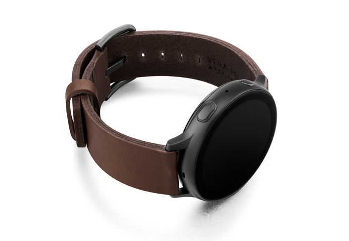 Burnt-Galaxy-watch-deep-brown-full-grain-leather-band-with-case-on-right