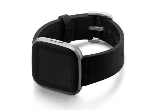 Cassel-Fitbit-black-full-grain-leather-band-with-case-on-left
