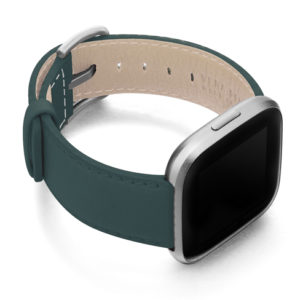 Denim-Fitbit-nappa-leather-band-with-case-on-right