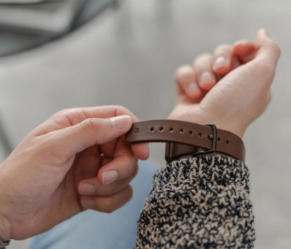 Galaxy-watch-active--brown-full-grain-leatehr-band-with-a-focus-on-a-hot-stamp-monogram