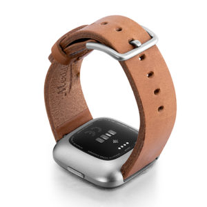 Tawny-Fitbit-Watch-brown-full-grain-leather-band-with-back-case