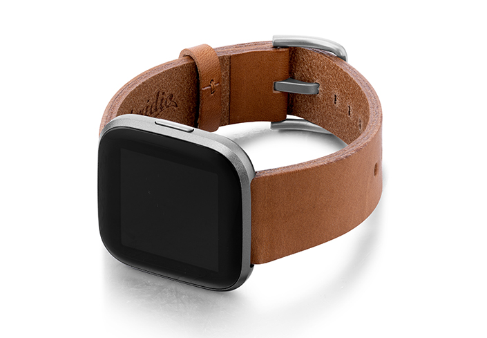 Tawny-Fitbit-Watch-powder-full-grain-Leather-band-with-case-on-left