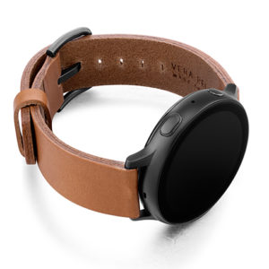 Tawny-Galaxy-watch-brown-full-grain-leather-band-with-case-on-right