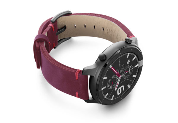 Amazfit-GTR-colonial-red-vintage-leather-band-with-display-on-right