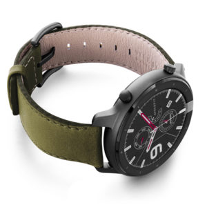 Amazfit-GTR-musk-green-nappa-leather-band-with-display-on-right