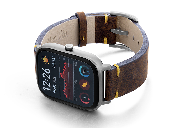 Amazfit-GTS-old-brown-vintage-band-with-display-on-left