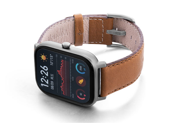 Goldstone-Amazfit-GTs-nappa-leather-band-with-display-on-LEFT