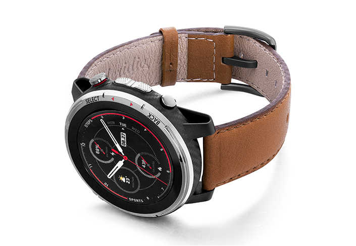 Goldstone-Amazfit-STRATOS-nappa-leather-band-with-display-on-left