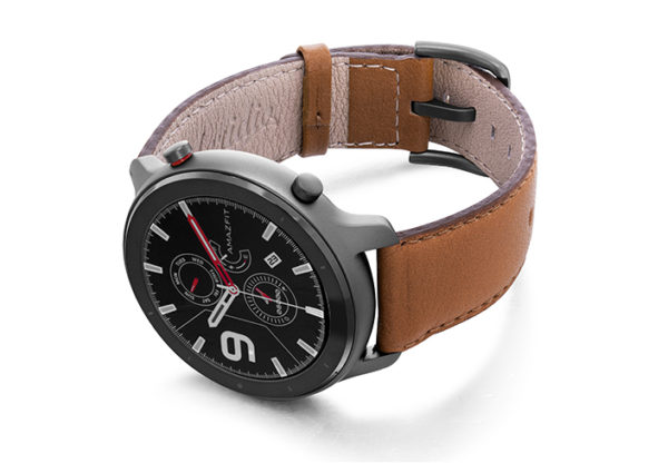 Goldstone-Amazfit-GTR-nappa-leather-band-with-display-on-left