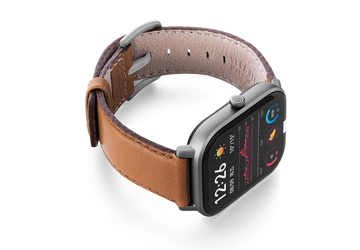 Goldstone-Amazfit-GTs-nappa-leather-band-with-display-on-RIGHT