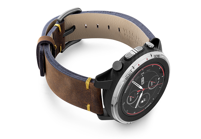 Amazfit-stratos-old-brown-vintage-band-with-diaplay-on-right