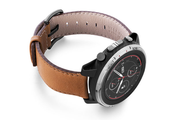 Goldstone-Amazfit-STRATOS-nappa-leather-band-with-display-on-right
