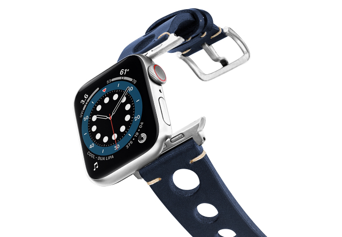 Blue-AW-urban-leather-band-on-air-stainless-steel-adapters