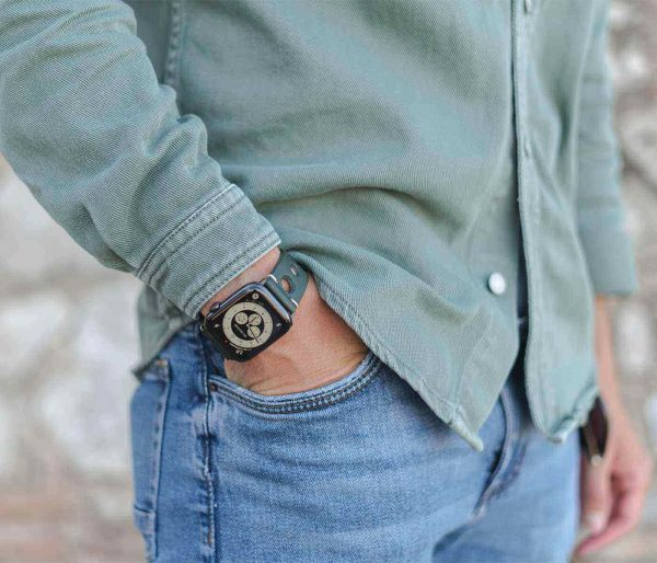 AW green full grain leather band for man with casual outfit