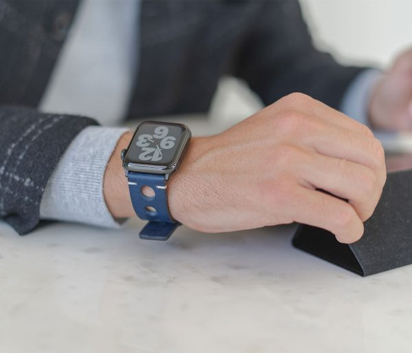AW blue full grain leather band for man in office
