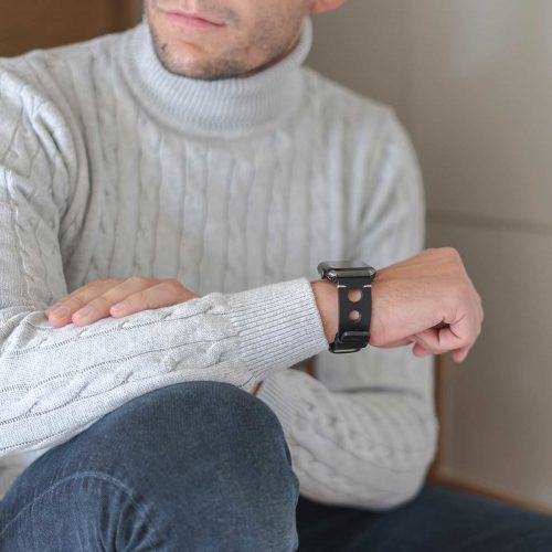 AW black full grain leather band for man wearing a white shirt