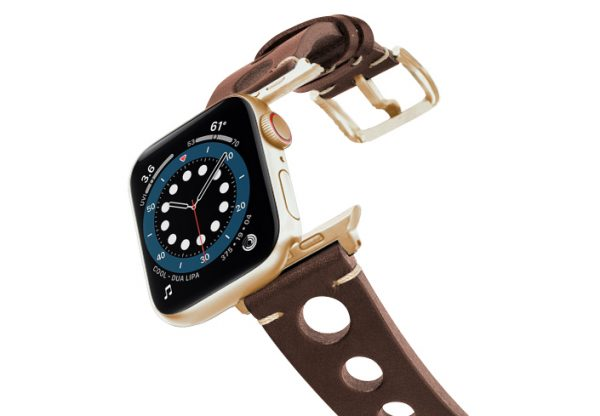 Dark-Brown-AW-urban-leather-band-on-air-alluminium-gold-adapters