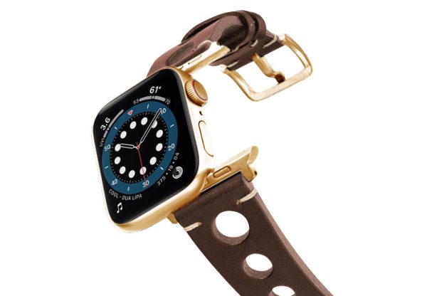 Dark-Brown-AW-urban-leather-band-on-air-stainless-gold-adapters