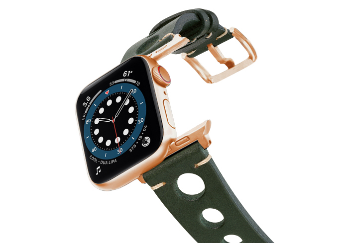 Green-AW-urban-leather-band-on-air-alluminium-rose-gold-adapters