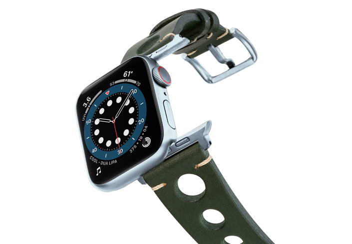 Green-AW-urban-leather-band-on-air-alluminium-silver-adapters