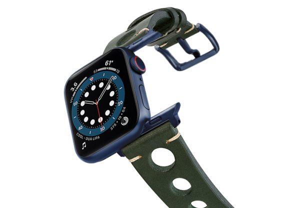 Green-AW-urban-leather-band-on-air-space-blue-adapters