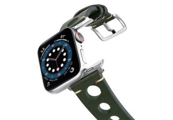 Green-AW-urban-leather-band-on-air-stainless-steel-adapters