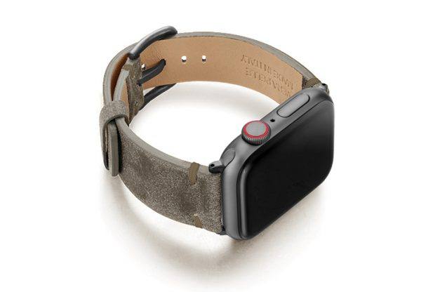 AW-green-ancient-brown-leather-band-with-case-on-right-space-grey-adapters