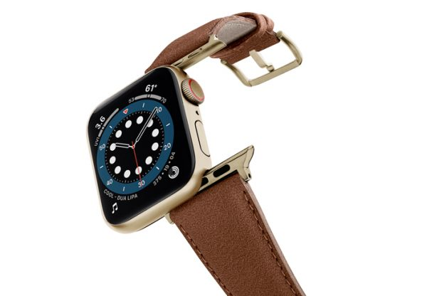 Anurka-Apple-watch-vegan-leather-band-flying-view-stainless-gold-case