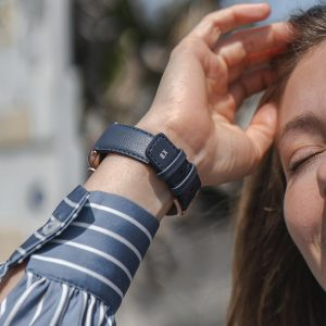 Blue-Cider-Apple-watch-recycled-vegan-band-for-her-close-up-on-monogram