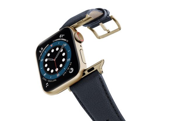 Blue-Cider-Apple-watch-vegan-leather-band-flying-view-stainless-gold-case