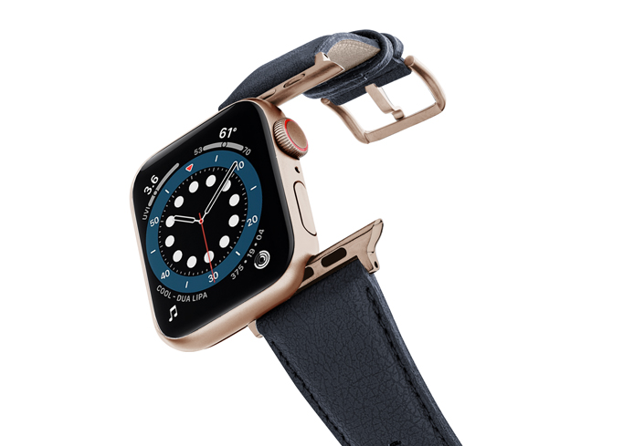 Blue-Cider-Apple-watch-vegan-leather-band-flying-view_alluminium_Gold_Case
