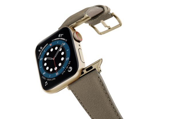 Strudel-Apple-watch-vegan-leather-band-flying-view-stainless-steel-gold-case