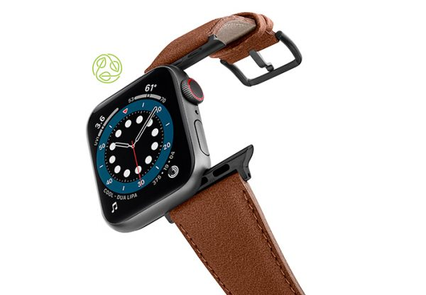 Anurka-Apple-watch-vegan-leather-band-flying-view_Space_grey_case-recycled-green-logo