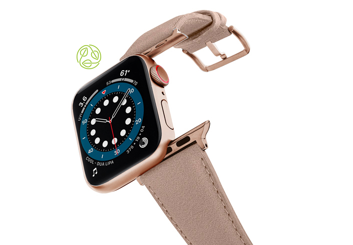 Bisque-Apple-watch-vegan-leather-band-flying-view_alluminium_Gold_Case-recycled-green-logo