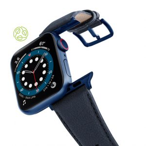 Blue_Cider-Apple-watch-vegan-leather-band-flying-view_Blue_Case-recycled-green-logo
