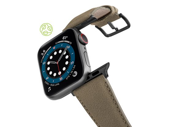 Strudel-Apple-watch-vegan-leather-band-flying-view_Space_grey_case-RECYCLED-green-logo